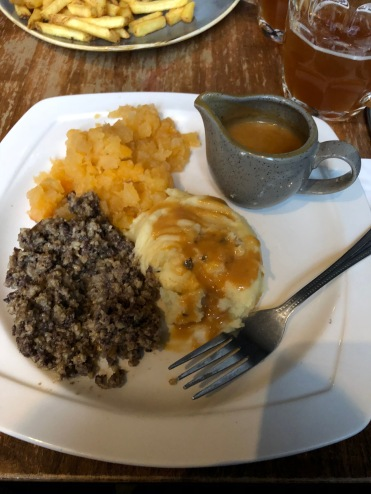 Haggis at The Last Drop, Edinburgh, Scotland