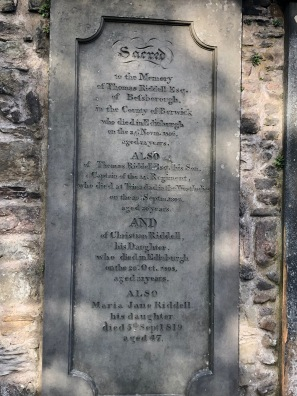 Thomas Riddell's grave in Greyfriar's Kirkyard, Edinburgh, Scotland