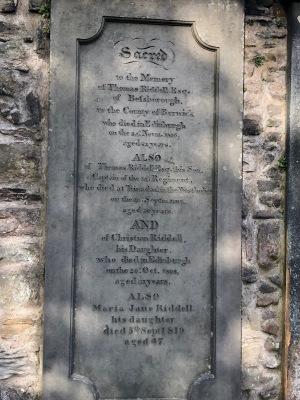 Thomas Riddell's grave in Greyfriar's Kirkyard, Edinburgh, Scotland
